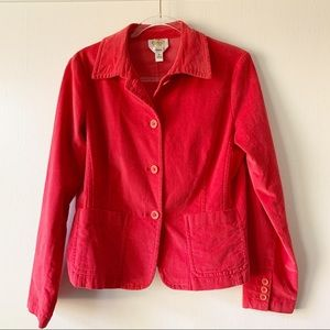 Talbots Stretch Red Corduroy Jacket / Blazer sz 8